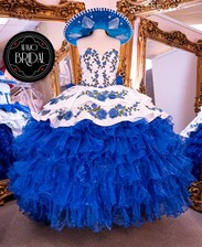 quinceanera dress charro blue and white